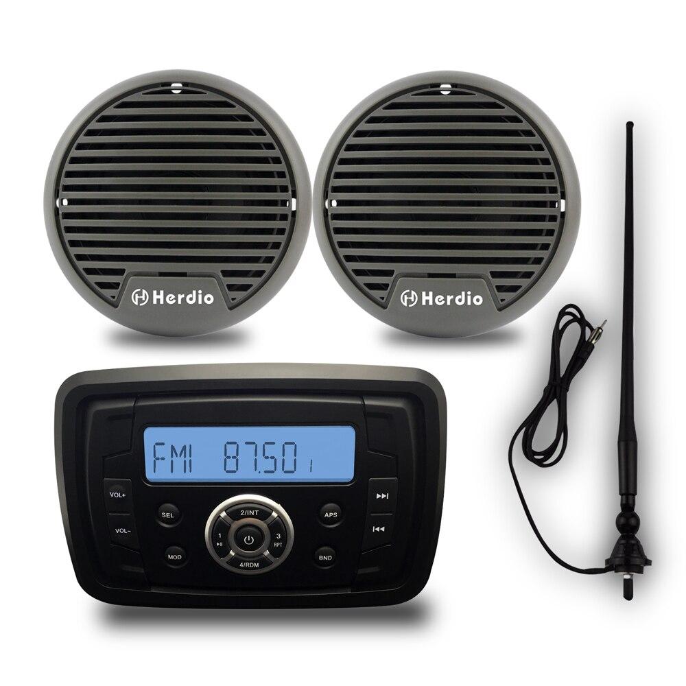 Imperméable à l'eau Marine Bluetooth Radio Stéréo ATV ATV Audio Heavy Duty Monté + 3 pouce Marine En Plein Air Moto Haut-Parleur FM SUIS antenne