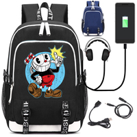 Giancomics Cuphead Canvas Backpack Canvas with USB Charging Port and Headphone Port Fashion Student School Bag Shoulder Knapsack