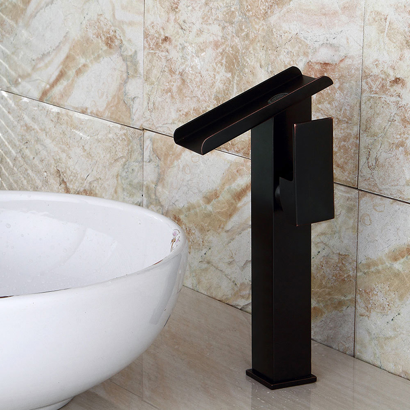 Robinets de bassin cascade salle de bains robinet mitigeur de lavabo robinet bain Bronze noir robinet laiton évier grue à eau robinet chromé