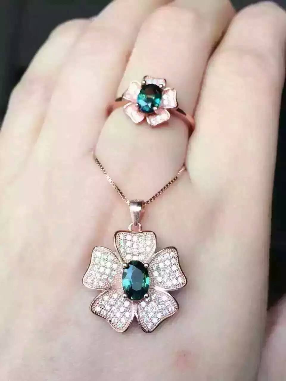 Natural blue sapphire stone wedding jewelry sets natural gemstone ring necklace S925 silver Fashion rose Flowers Shape