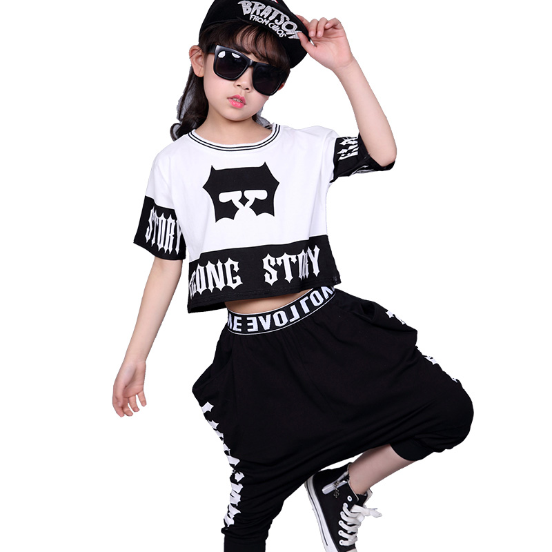 Kid's Casual Sets Suits Fashion Summer Children Clothes Hip Hop Dance Set Costume Girls Clothing 2 Pieces Suit Boys Harem Pants 2017 new boys clothing set camouflage 3 9t boy sports suits kids clothes suit cotton boys tracksuit teenage costume long sleeve
