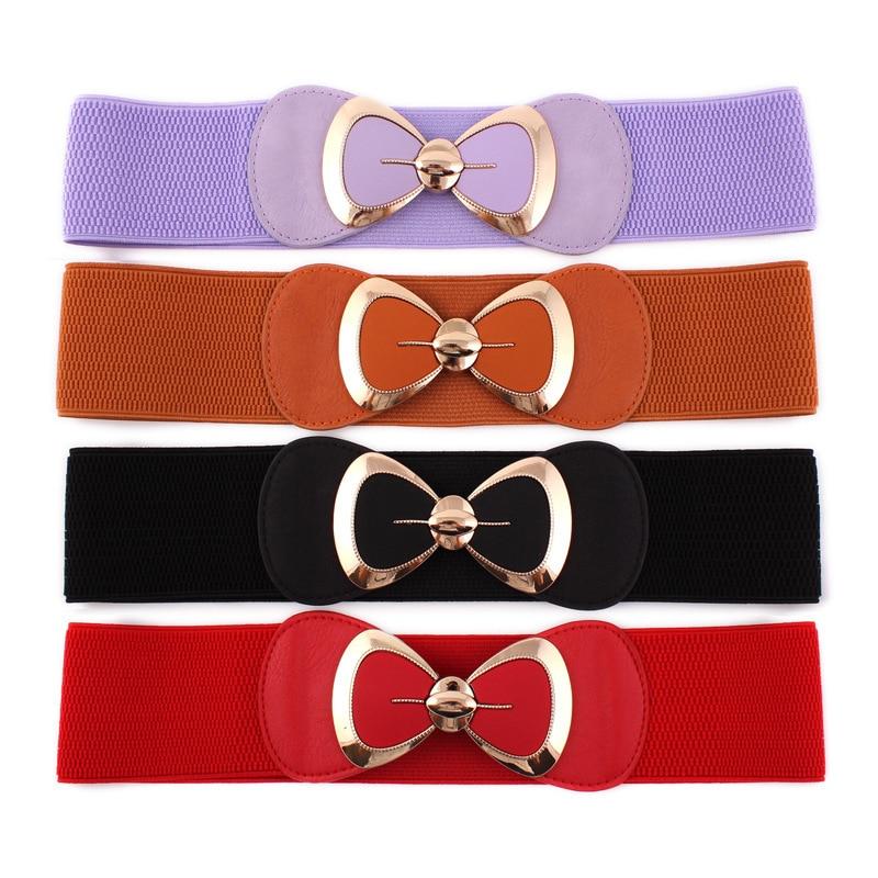 Hot Sale Women Butterfly Bow Bowknot Buckle Waistband Wide Elastic Stretch Waist   Belt   for Women Dress Accessor