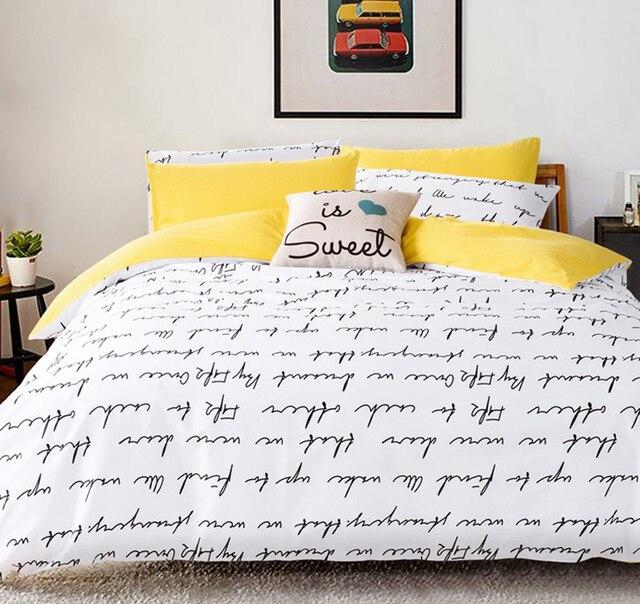Letter Printing Bedding Sets Duvet Cover Set Bed Linen Ru Usa Size Quilt
