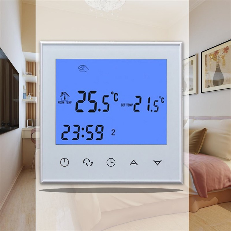 New Digital LCD Display Touch Screen Room Temperature Controller Thermostat 220V NTC Sensor White/Black For Underfloor Heating range 40 99 degree 220v touch digital lcd temperature controller with touch button cooling heating switch thermostat