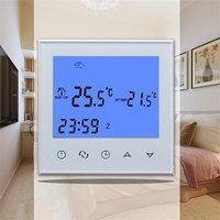 New Digital LCD Display Touch Screen Room Temperature Controller Thermostat 220V NTC Sensor White/Black For Underfloor Heating