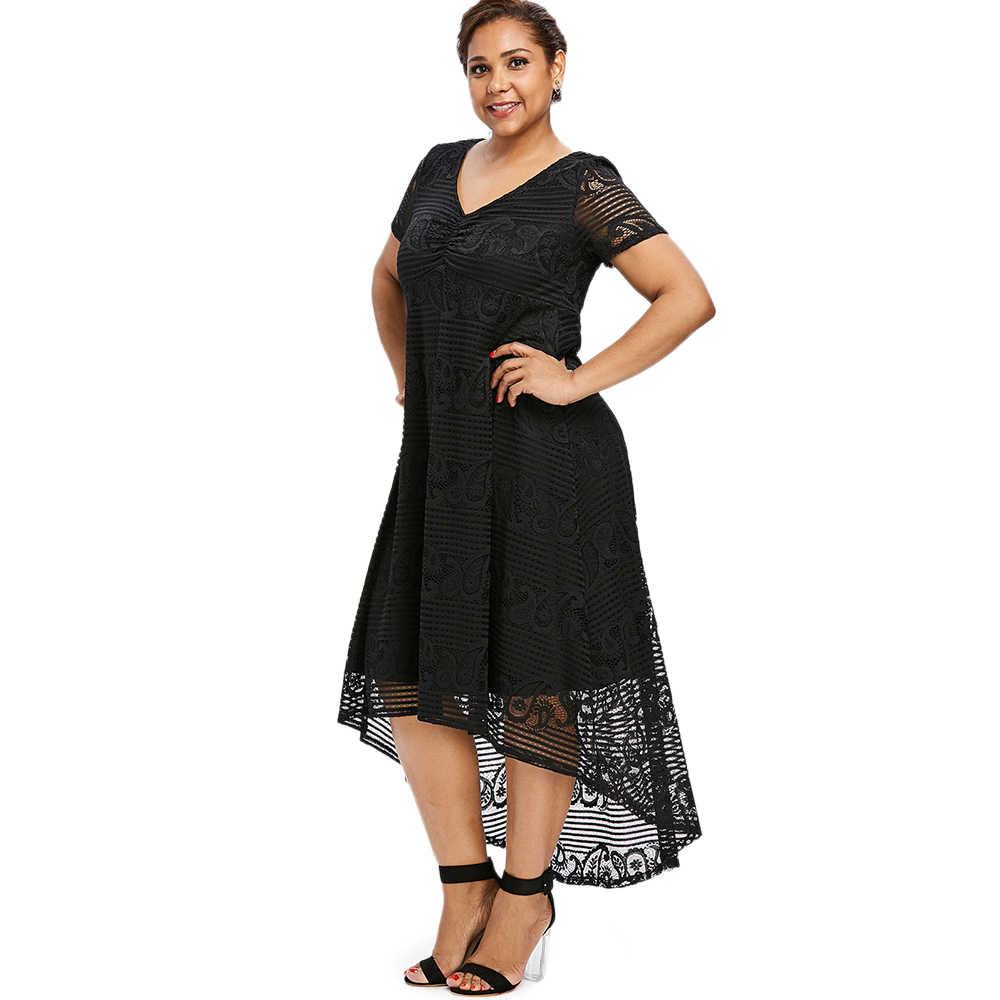 d3eaf9f937 Gamiss Plus Size High Low Lace Dress Women Elegant Party Dresses Vestidos  Femme Summer V Neck Short Sleeve Dress Ladies Clothes