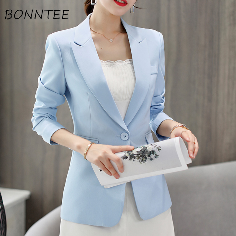 Blazers Long Sleeve Single Button Solid Trendy Elegant Office Ladies Slim Casual Fashionable Women New Chic Breathable Womens
