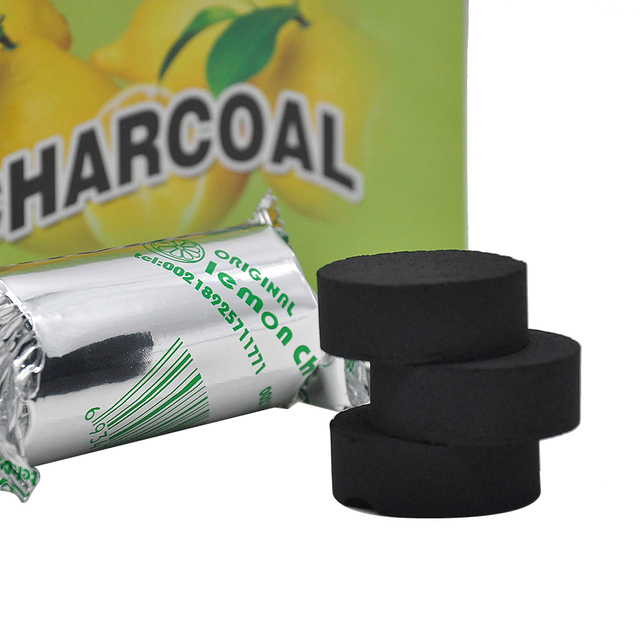 20Rolls/lot A Box Lemon Flavored Hookah Charcoal Shisha Hookah Charcoal Quick-lighting Burn Even Lasting Long Flavored Charcoal 3