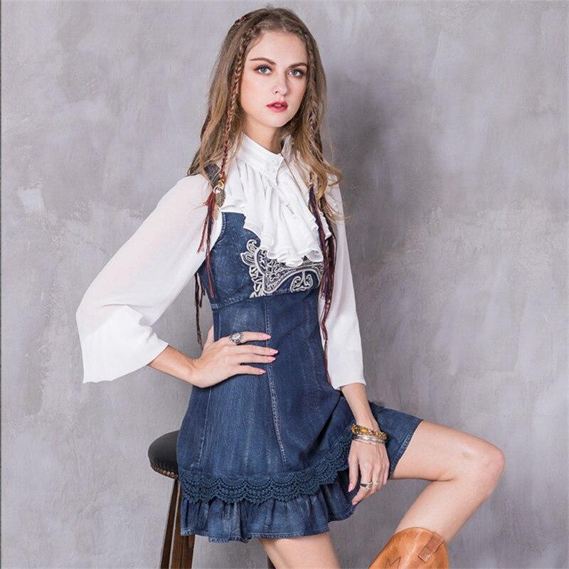 Vintage printemps femmes robe 2017 mode Denim Vestidos Floral broderie o-cou haute dignité robe dentelle couches a-ligne Sundresse