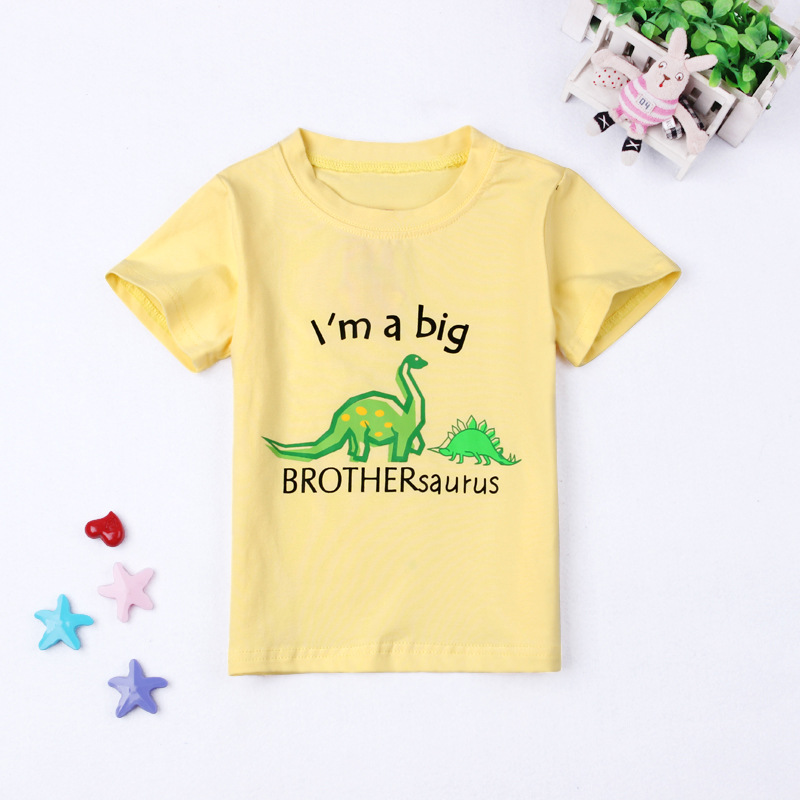 5005a424 3 Style Kids Boys Cartoon Clothes T Shirt Dinosaur I Am A Big Brother  Saurus Baby Boys Summer Casual Clothing Tee 2 6Y Children-in T-Shirts from  Mother ...