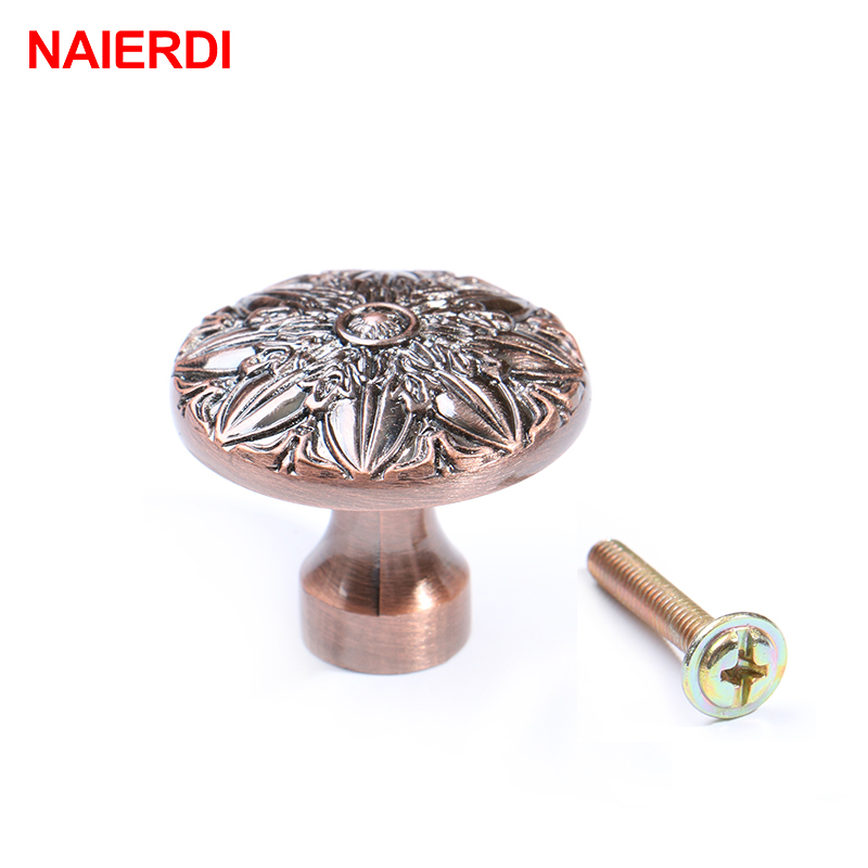 NAIERDI Retro Cabinet Knobs Red Bronze Kitchen Door Cupboard Zinc Alloy Handles Wardrobe Furniture Handle Drawer Pulls Hardware