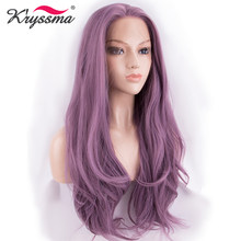 Ash Purple Lace Front Wig for White Women Glueless Long Wavy Pink Synthetic Wigs for Party Cosplay Heat Resistant Fiber(China)