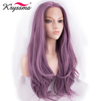 Ash Purple Lace Front Wig for White Women Glueless Long Wavy Pink Synthetic Wigs for Party Cosplay Heat Resistant Fiber