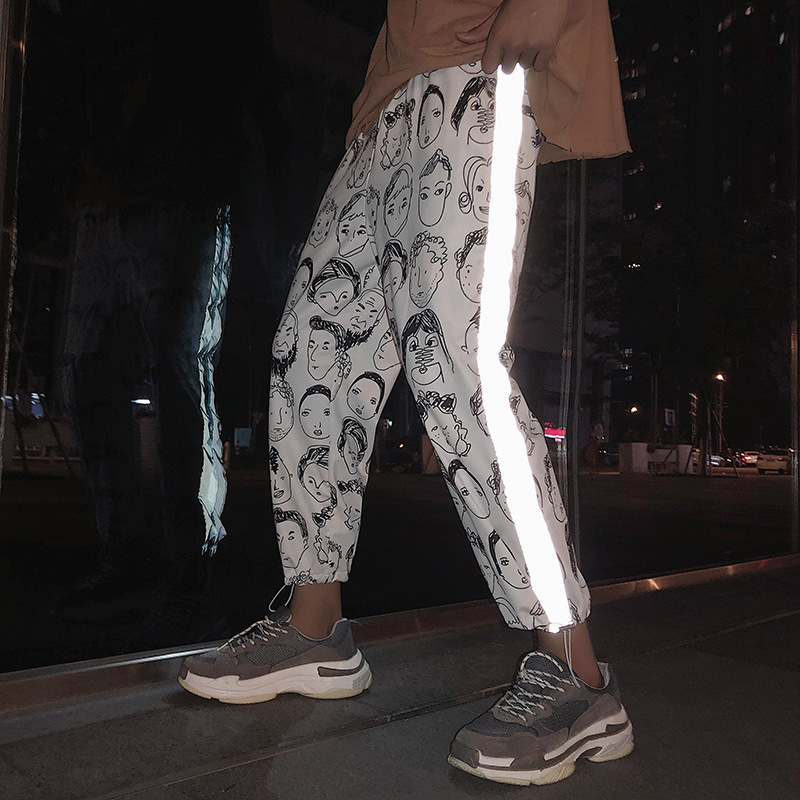 Reflective Pants Women Hip Hop Streetwear High Waist Nine Pants Plus Size 2019 Summer Female Print Loose Pencil Trousers