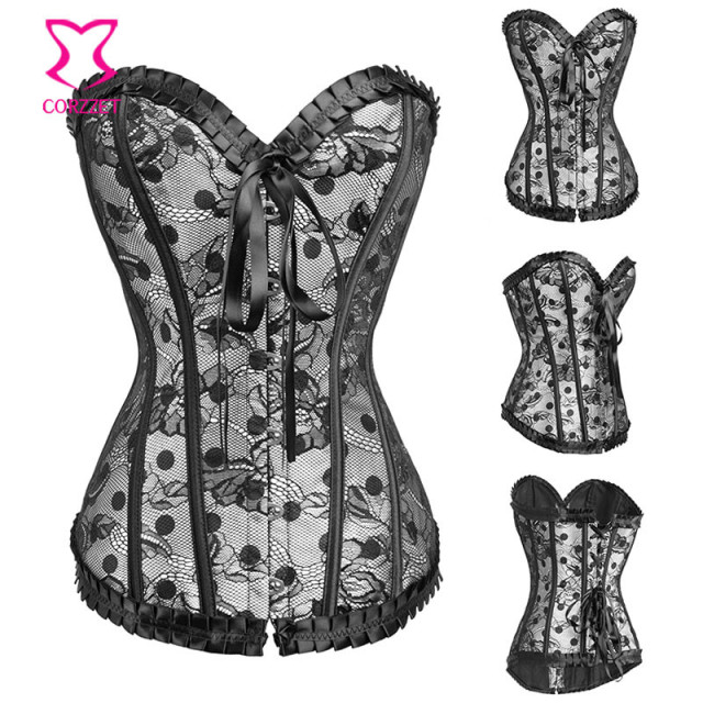 Black Polka Dot White Satin Corset Bustier Tops Sexy Corpete Corselet Overbust Korsett For Women Gothic Corsets And Bustiers