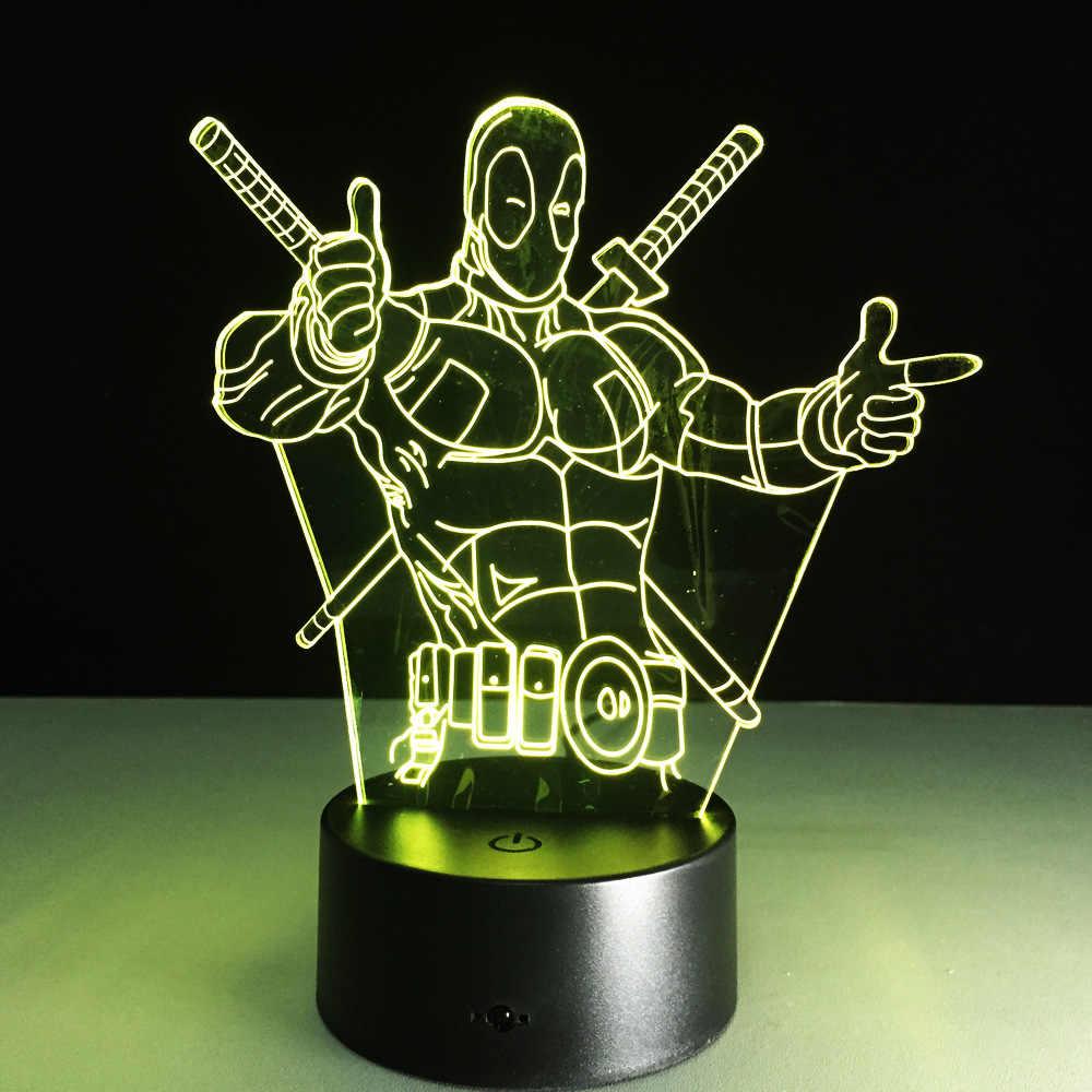 Deadpool superher novidade brinquedo lâmpada 7 cores mudando ilusão visual led luz deadpool brinquedo figura de ação presente aniversário para o miúdo