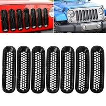 Для 2007- Jeep Wrangler JK матовая Черная передняя вставка сетчатая решетка Накладка 7 шт