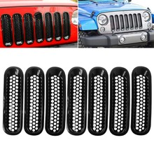 Voor 2007-2017 Jeep Wrangler JK Matte Black Front Insert Mesh Grille Trim Cover 7Pcs(China)