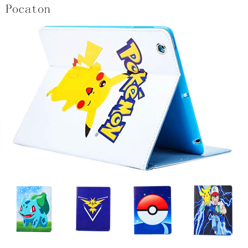 Pocaton for ipad AIR2 Mobile Game Pokemons Go Case PU Leather Case Cover Team Valor Mystic Instinct protection cover