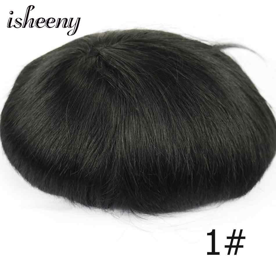 Isheeny 100% Remy Insan Saç Erkek Peruk Mono peruk Doğal Saç Çizgisi Dantel Ince PU Değiştirme Sistemi Toupees Erkekler Saç Peruk
