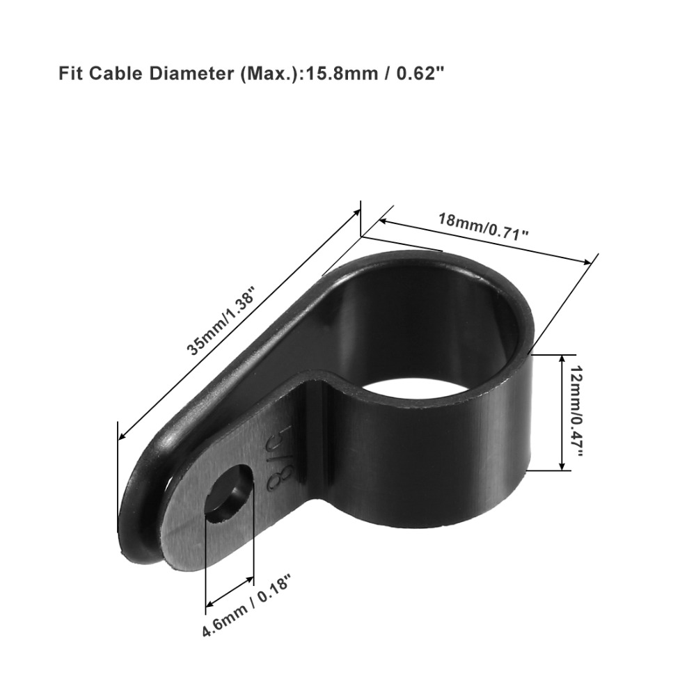Uxcell Fit 3 2 6 4 12 7 15 8 19 4mm Dia Wire Hose Tube Nylon R type Cable Clamp Cord Clips for Wire Management Black White 10Pcs in Cable Clips from Home Improvement