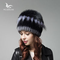 MOSNOW New Women Winter Caps Female Hat Rex Rabbit Fur With Fox Fluffy Top Solid Fashion