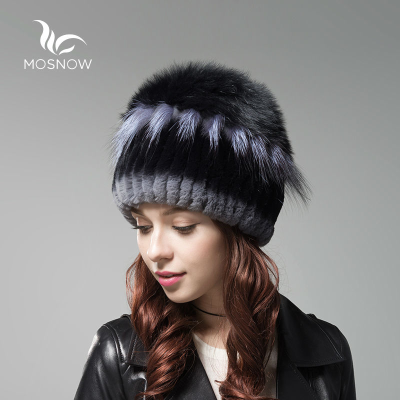 MOSNOW New Women Winter Caps Female Hat Rex Rabbit Fur With Fox Fluffy Top Solid Fashion Woman Winter Hats Bonnet Femme Beanies winter rex rabbit fur hat for women with fox fur pom poms top knitted beanies fur hats 2015 new brand causal good quality caps