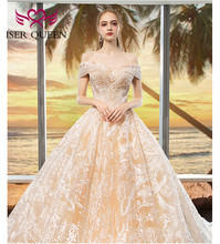 Luxury Embroidery Wedding Dress 2020  Cap Sleeves Champagne Beading Lace Bridal Dresses Ball Gown Lace up Big Train WX0020