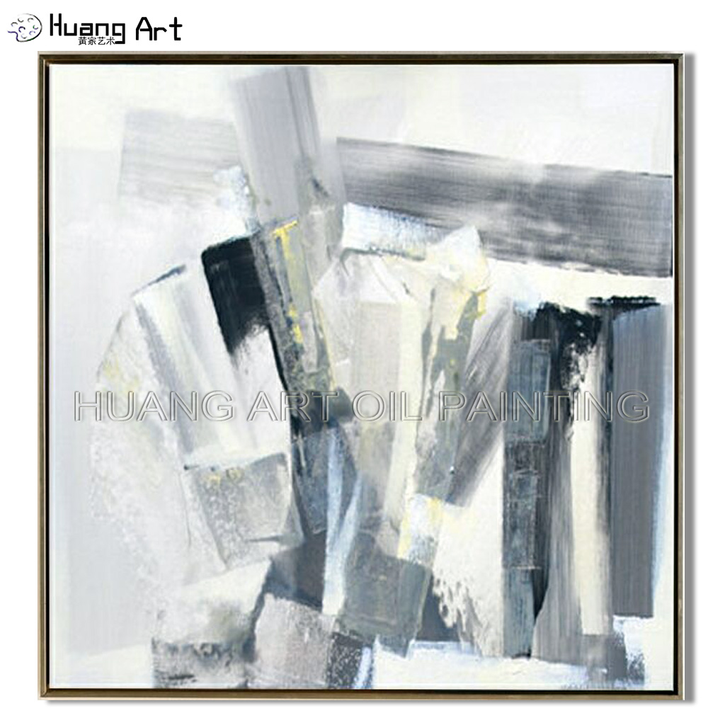 Top Artist Pure Hand-painted Quality Abstract Oil Painting On Canvas Skills Handmade White and Black
