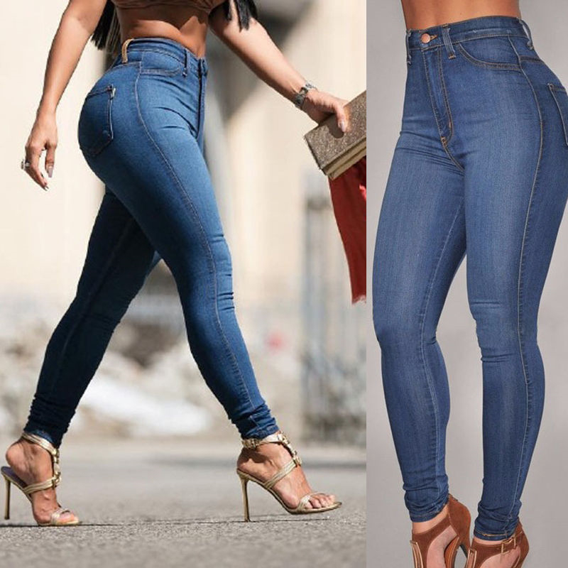 c06c66a3f399d Detail Feedback Questions about New Fashion Women Denim Skinny Pant High  Waist Stretch Jeans Slim Pencil Trouser Casual Long Pants Elastic Jeans on  ...