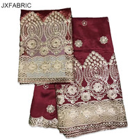 JXFABRIC New Arrival African George Fabric 2017 African Raw Silk George Fabric With 2 Yards Scraf