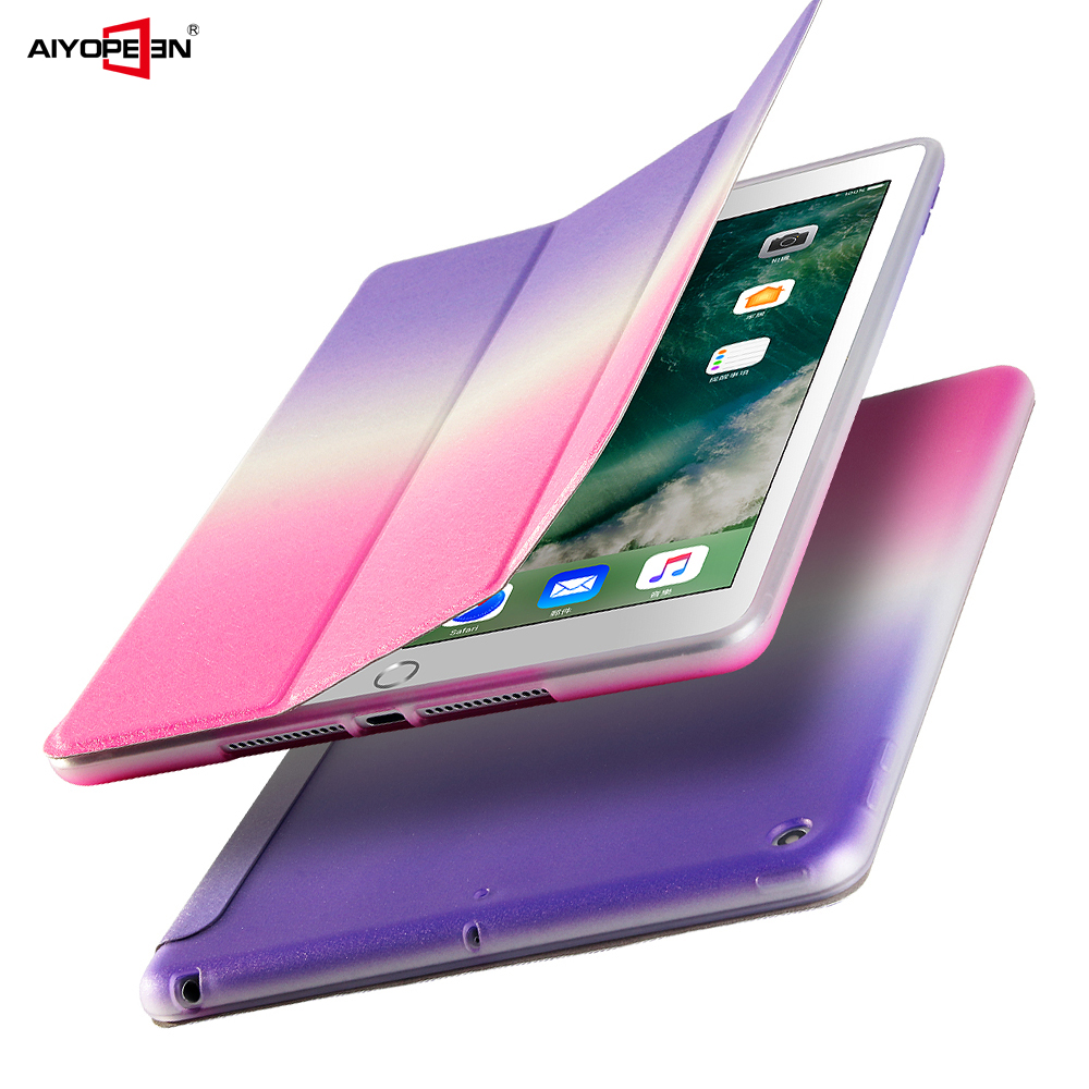 for iPad Air 1 case smart wake up sleep rainbow gradient with pc back cover for ipad 5 3-fold PU Leather magnetic flip stand for new ipad 9 7 case 2017 release smart wake up sleep pu leather with pc back cover rainbow gradient 3 fold magnetic stand
