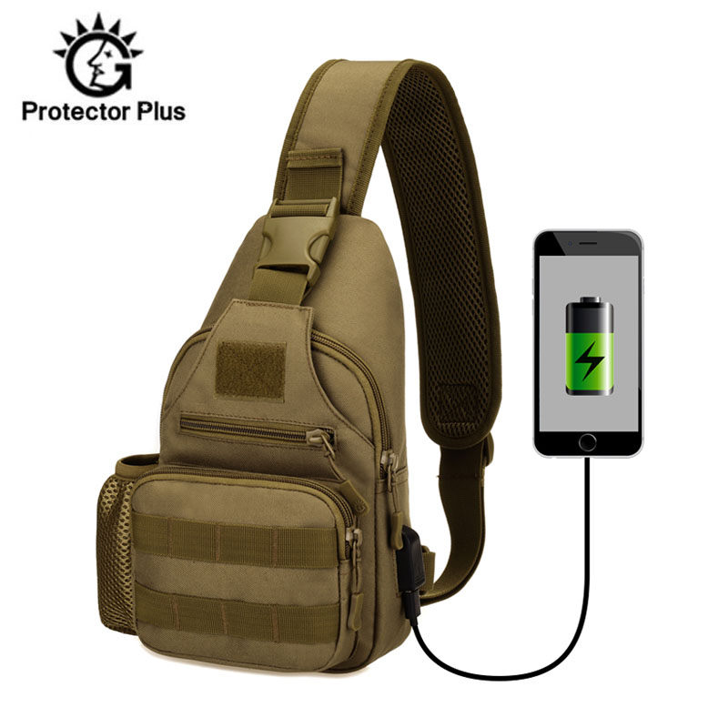 16e775d7dd USB Petto Singolo Sacchetto di Spalla di Campeggio Zaino Militare Tattico  Borse Sportive Outdoor Escursionismo Esercito Mochlia Molle Camo Sacco  XA680WA