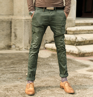 Retro Metrosexual Man Wash Old Army Green Male Super Slim Jeans Metrosexual Man Straight Casual Jeans