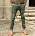 Retro metrosexual hombre lavar viejo verde del ejército masculino super slim jeans hombre metrosexual vaqueros rectos casuales K659