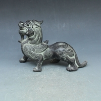 Rare Old Han Dynasty(25--186)bronze Flying beast statue,free shipping