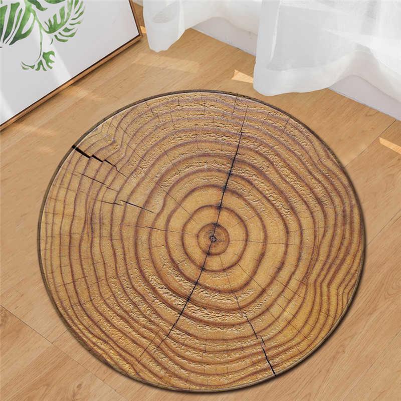 3D 木目リングラウンドリビングルーム廊下エリアドルヨガマット現代の屋外床反スリップ敷物の家の装飾