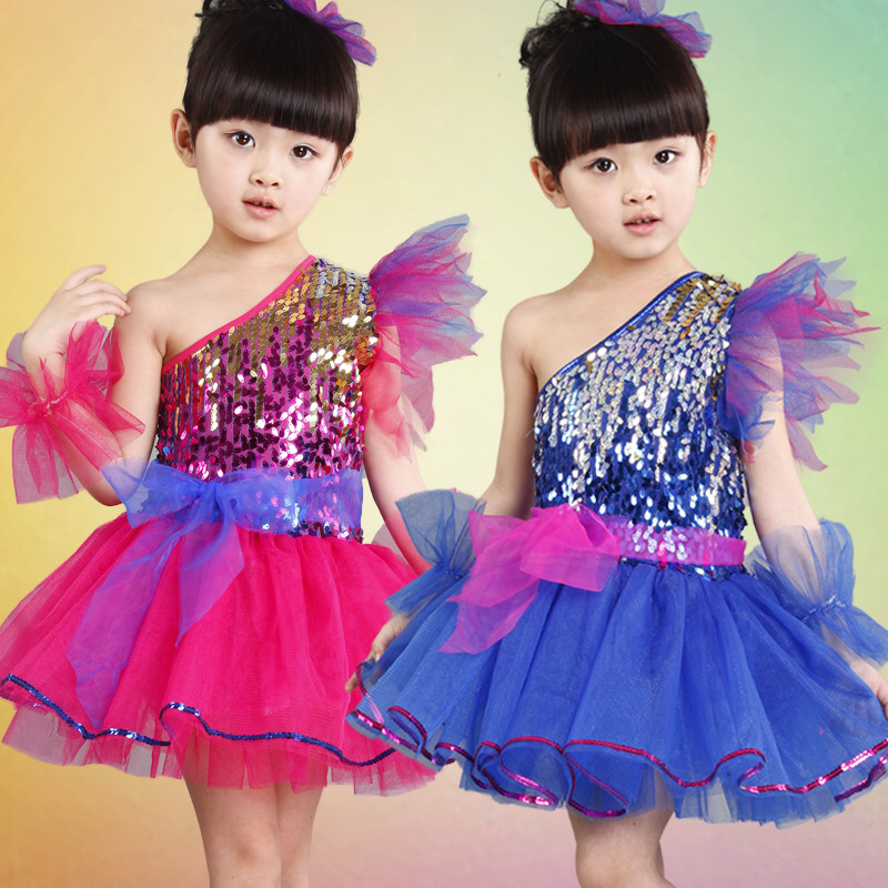 Free shipping Children's jazz dance suit girl's modern dance sequins veil performance stage dance costumes dress JQ-571