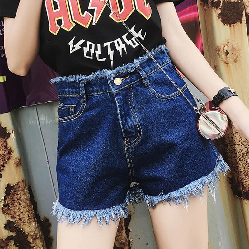 ROPALIA European and American BF summer wind female blue high waist denim   shorts   women worn loose burr hole jeans   shorts
