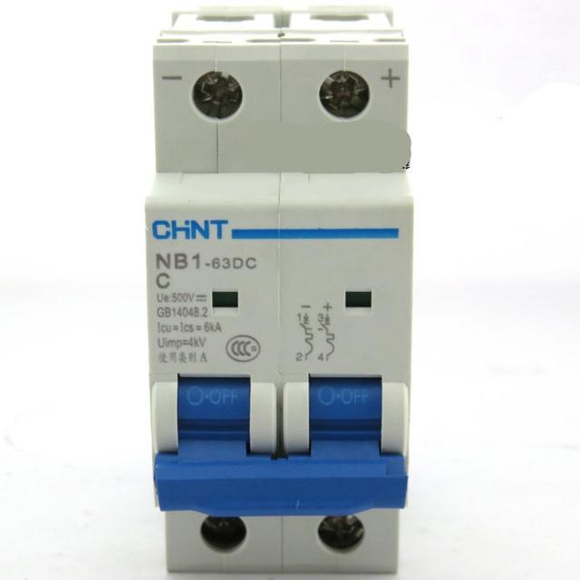 DC500V 2Pole 20Amp 6KA CHNT NB1 63 DC MCB Circuit breaker for solar ...