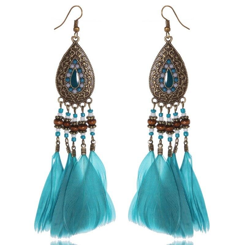 Beautiful Design Bohemia Big Light Blue Color Feather Fashionable ...