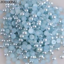 ZOTOONE керамические Стразы светильник синий полукруглый жемчуг 1000 шт./лот для украшения для ногтей одежды Flatback стразы аппликация E