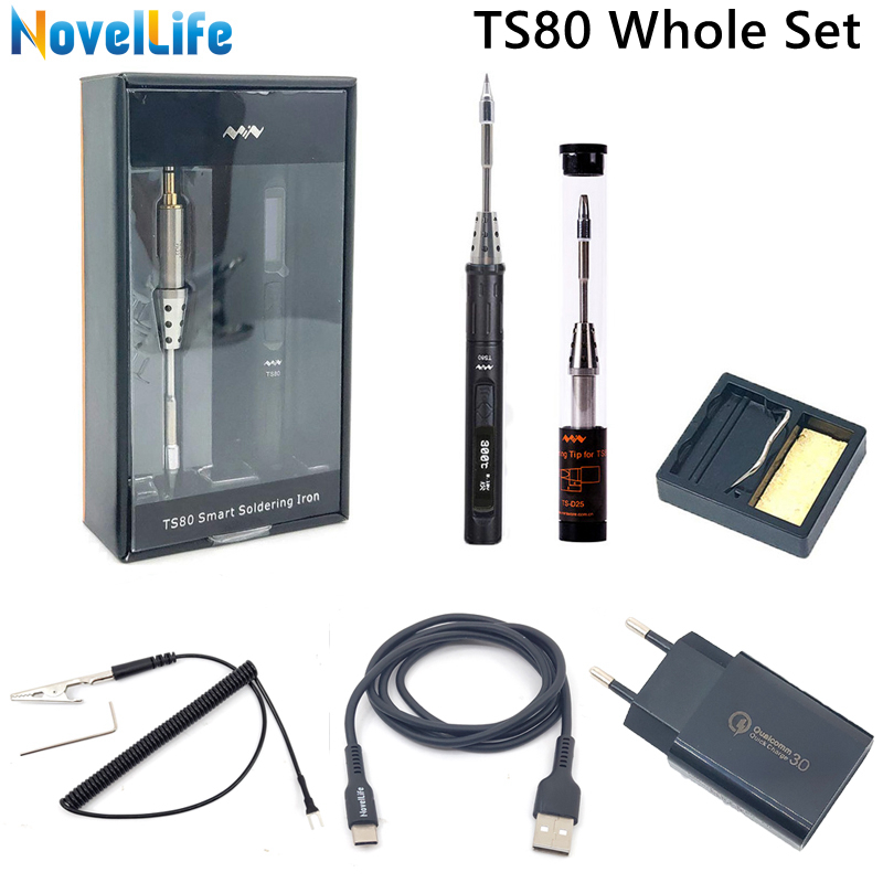 Mini TS80 Portable Digital Electric Soldering Iron TS B02 D25 Solder Tip QC3.0 Quick Charger Kit Adjustable Temperature Type C(China)