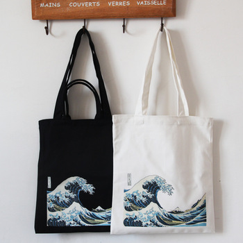 Thick Canvas Shoulder Bag Casual Environmental Shopping Bag Tote Package Large Capacity Sea Wave Print Crossbody Bags for Women цена 2017