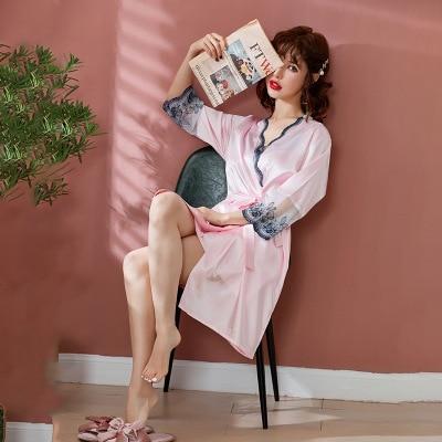 Daeyard Robe Gown Set For Women 2019 Spring Summer Sexy V Neck Lace Trimmed Nightdress And Bathrobe 2 Pieces Sleepwear Nightie in Robe Gown Sets from Underwear Sleepwears