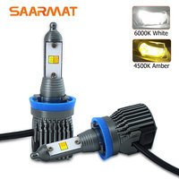 1Set Dual Color 6000K White 4500K Amber Yellow LED Headlight 9600LM H1 H3 H4 HB2 9003