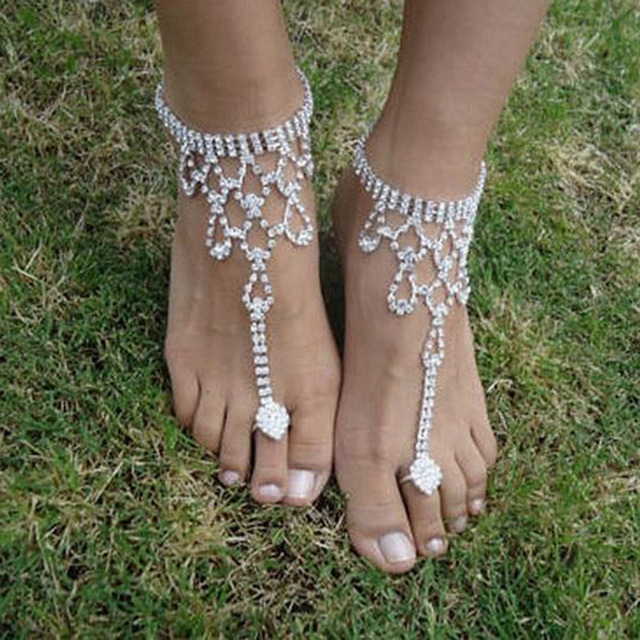 f404b4ea398 6 Style Hot Fashion Sexy Lady Women Crystal Barefoot Sandals Beach Wedding  Foot Anklet Jewelry