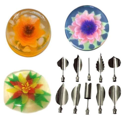 5pcs/Set 3D Jelly Flower Art Tools 1pcs Syringe 3D Gelatin Art Tools Jello Gubbins Pudding Nozzle Syringe Set Russian Nozzles