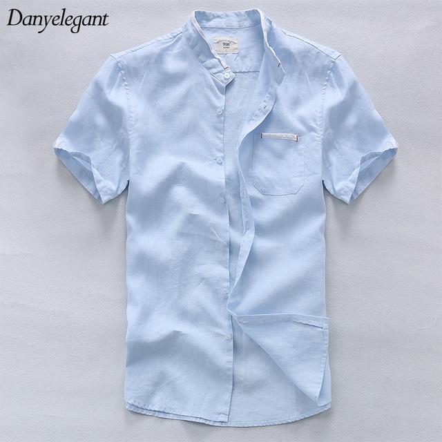 477d6f7a 2017 New Summer Thin Pure Linen Short-sleeve Shirt Male Fluid Stand Collar  Shirt Loose Casual Shirts Plus Size