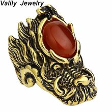 Valily Jewelry Men's Big Vintage Gothic Dragon Head Ring Stainless Steel Red Onyx Biker Ring Punk Hip Hop Cat eye Rings for Men(China)
